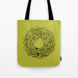 Forest Green Circle Nature Flow Tote Bag