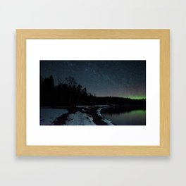 The Northern Lights Along the North Shore of Minnesota Framed Art Print