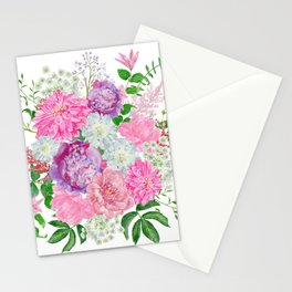 Pink bouquet of garden flowers Stationery Cards