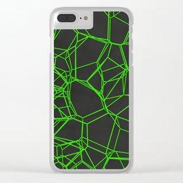 Green voronoi lattice on black background Clear iPhone Case