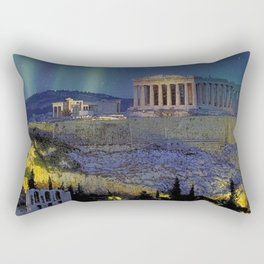 Northern lights over the ruins of the Acropolis; Athens, Greece Rectangular Pillow