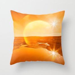 Twin Suns of Point Reyes - Gold Bokeh Bliss Throw Pillow