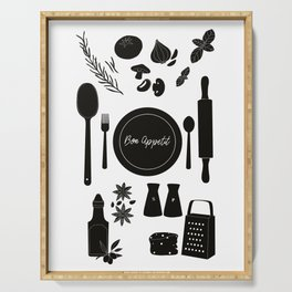 Bon Appetit Illustration Serving Tray
