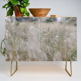 Tall wild grass growing in a meadow Credenza