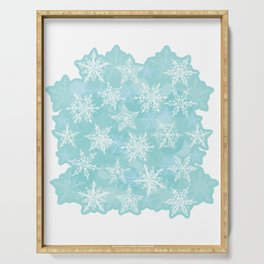 blue winter background with white snowflakes Serving Tray