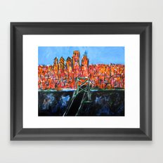 Philly Skyline view from NJ Framed Art Print