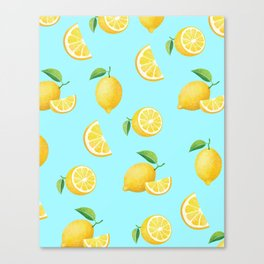 Lemons on Blue Canvas Print