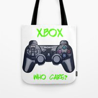 xbox Tote Bags featuring Ps vs xbox by BAS~