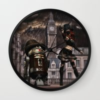 sci fi Wall Clocks featuring Steampunk Sci-Fi 3 by gypsykissphotography