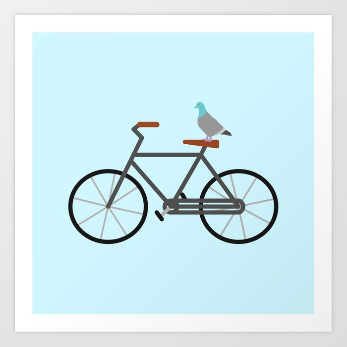 Pigeon Riding Bike Art Print By Eviltalkingham Society6