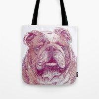 bulldog Tote Bags featuring Bulldog by Ahmad Mujib