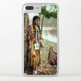 Native American Little Girl Clear iPhone Case