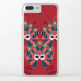 Festive face mask Clear iPhone Case