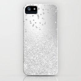 Modern silver glitter ombre metallic sparkles confetti iPhone Case
