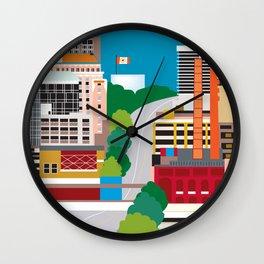 Birmingham, Alabama - Skyline Illustration by Loose Petals Wall Clock