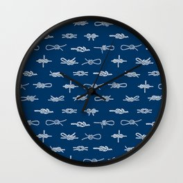 knots pattern sailing nautical knot tying illustration coastal decor Wall Clock