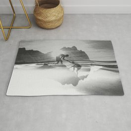 Friendship Mountain Black and White Surreal Nature Rug