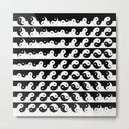 Fluidity | Yin Yang Art Pattern Black & White Metal Print