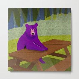 Purple Bear Picnic Table Metal Print