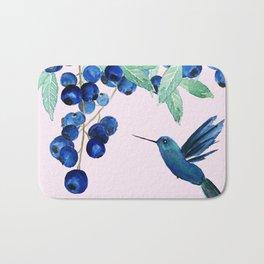 blueberry and humming bird Bath Mat
