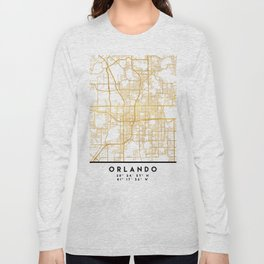 ORLANDO FLORIDA CITY STREET MAP ART Long Sleeve T-shirt