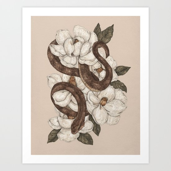 Snake and Magnolias by jessicaroux