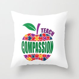 Autism Awareness Teach Compassion - Teacher Apple Puzzle Gift Throw Pillow