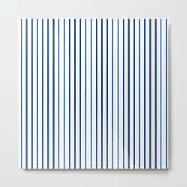 Morning Glory Blue Pin Stripe on White Metal Print