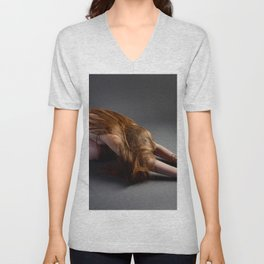 1727-PDJ Nude Redhead Bowing Down Hands Out Unisex V-Neck
