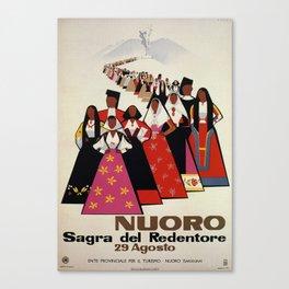 Nuoro Sardinia vintage Italian travel ad Canvas Print