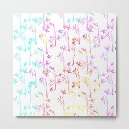 Trendy pink teal watercolor modern bamboo trees floral Metal Print