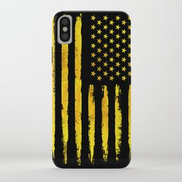 Gold grunge american flag iPhone Case