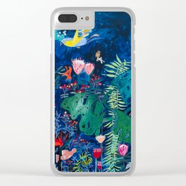 Brightly Rainbow Tropical Jungle Mural with Birds and Tiny Big Cats Clear iPhone Case
