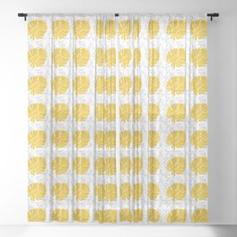 Abstract Yellow and Grey Monstera and Fern Leaves Sheer Curtain