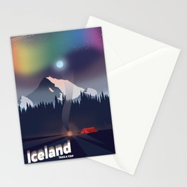 Iceland Northern lights travel poster Stationery Cards