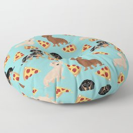 dachshund pizza multi coat doxie dog breed cute pattern gifts Floor Pillow