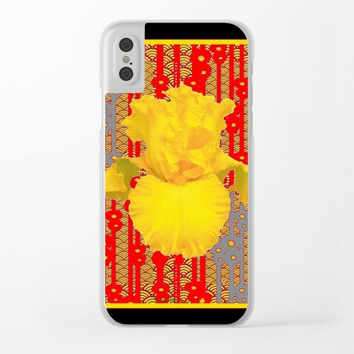 Oriental style Black-red Yellow Iris Pattern Art Clear iPhone Case