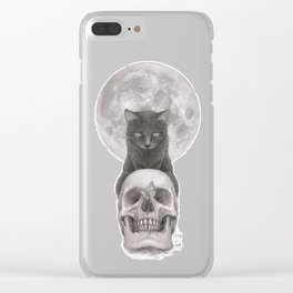 Moon Cat Clear iPhone Case