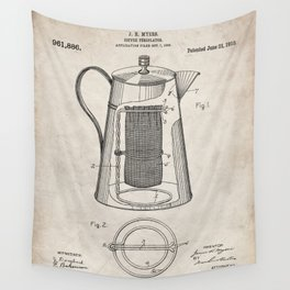 Coffee Percolator Patent - Coffee Shop Art - Antique Wall Tapestry