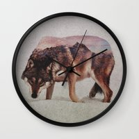 wolf Wall Clocks featuring Wolf by Andreas Lie