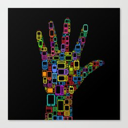 Mobile Phones Hand Canvas Print