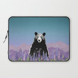Black Bear in Lupine Laptop Sleeve
