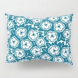 Flower Bouquet Pattern Peacock Blue Pillow Sham