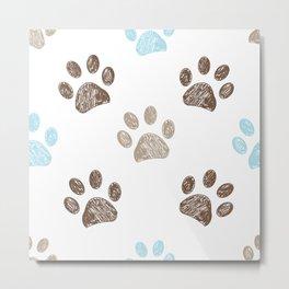 Blue and brown paw print Metal Print