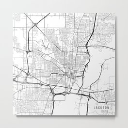 Jackson Map, USA - Black and White Metal Print