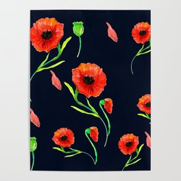 Red Poppies Field Poster