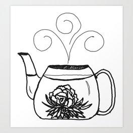 Blossoming Flower Tea Art Print