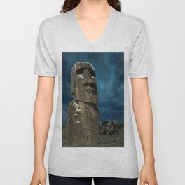 A Moai sculpture on the Easter Island. Unisex V-Neck