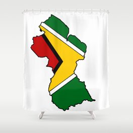 Guyana Map with Guyanese Flag Shower Curtain