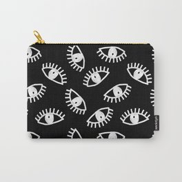 Eyes linocut black and white minimal eyes carving pattern Carry-All Pouch